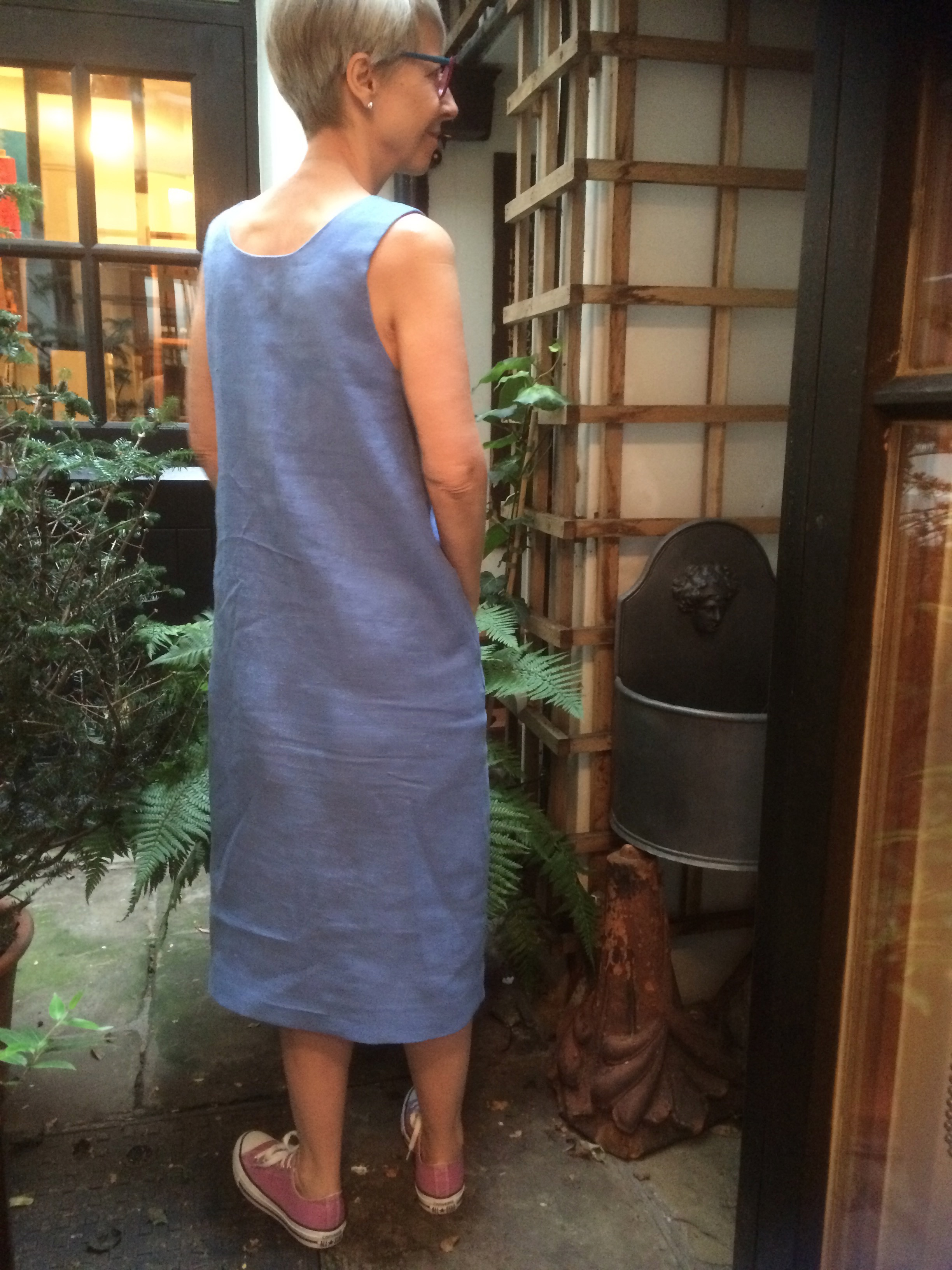 Back view easy fitting linen dress