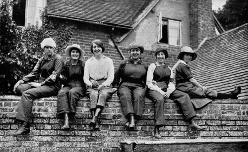 Munitions workers on a break