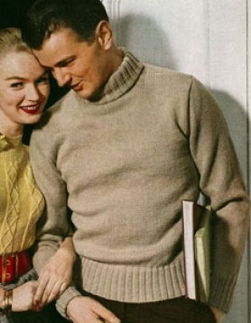 Men's beige turtleneck