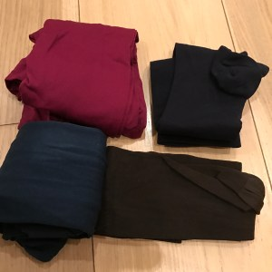 Pink, petrol, brown and navy tights