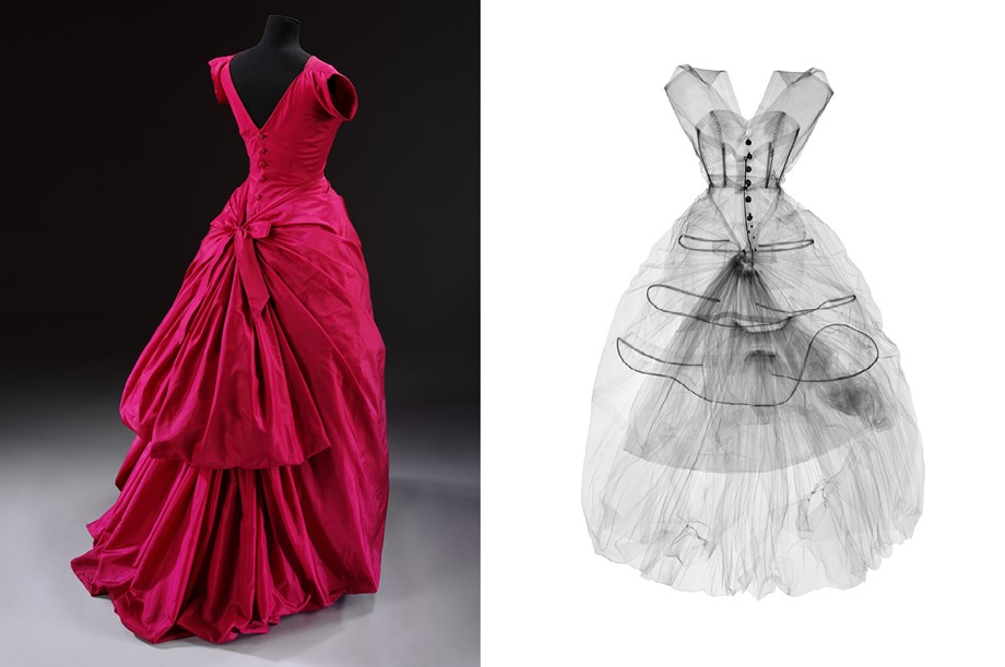 Silk taffeta evening dress, Cristóbal Balenciaga, 1955, and X ray of the dress