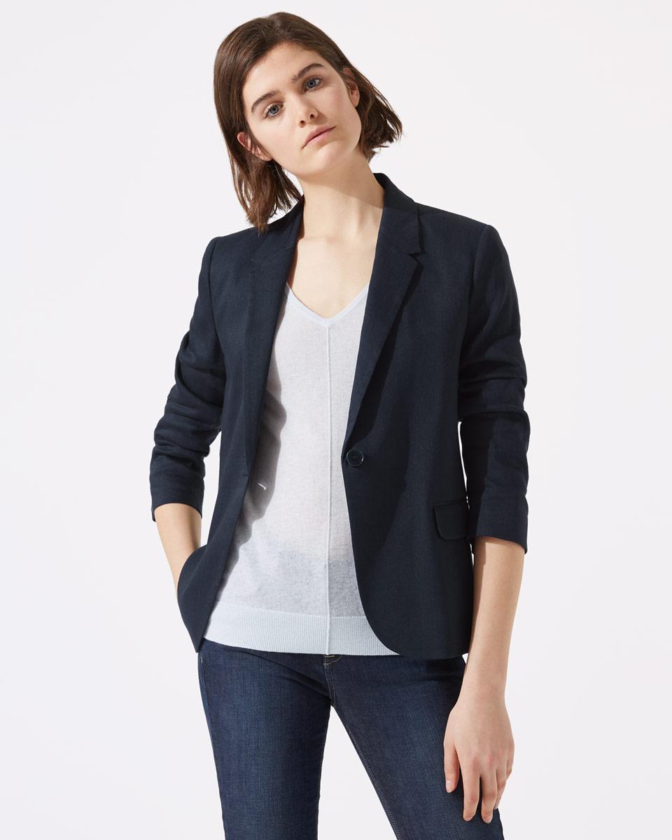 Jigsaw Portofino jacket blue linen