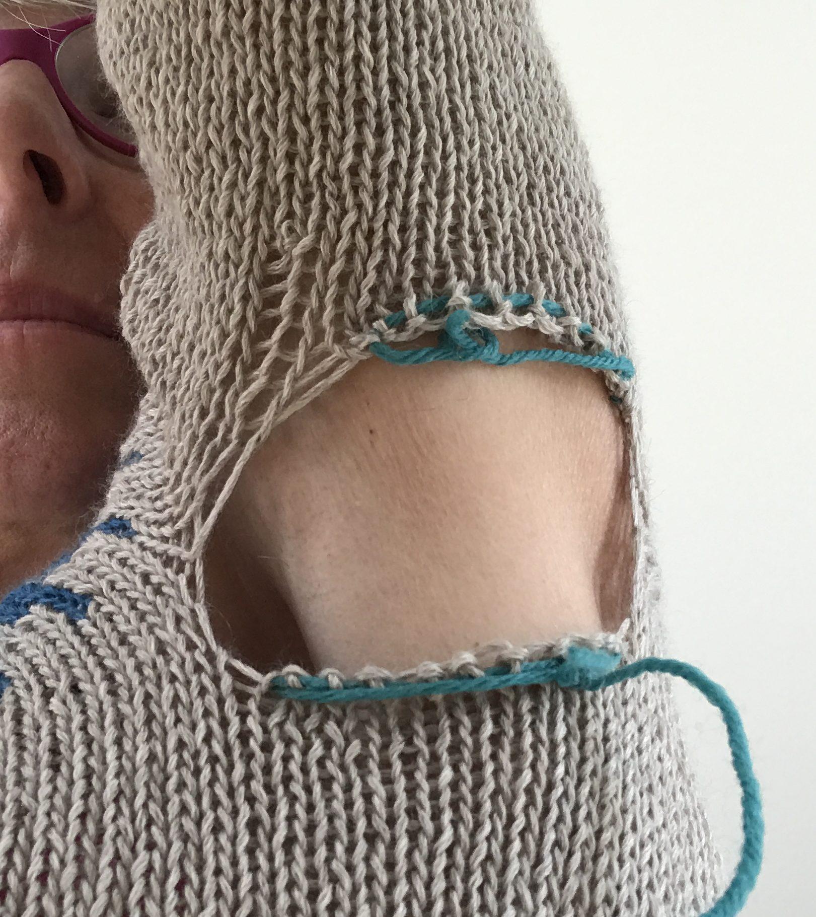 Underarm seam prior to weaving/grafting