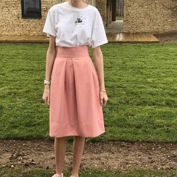 No waste skirt in peach