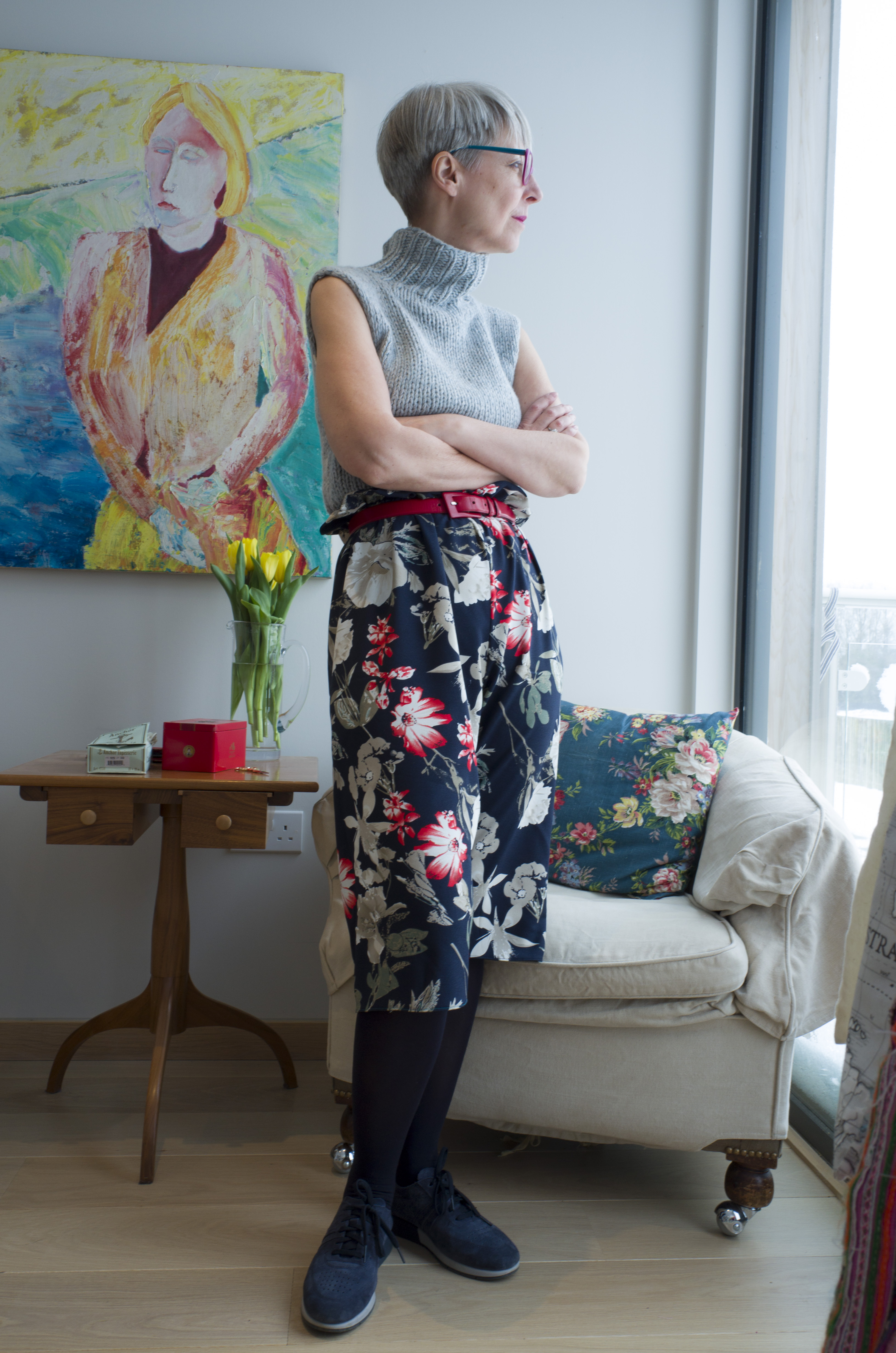 Floral Bermudas with sleeveless sweater