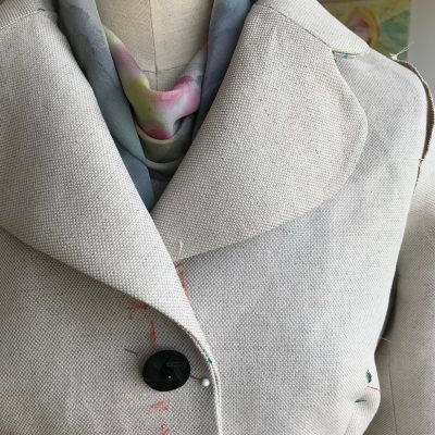 Testing a button on the jacket