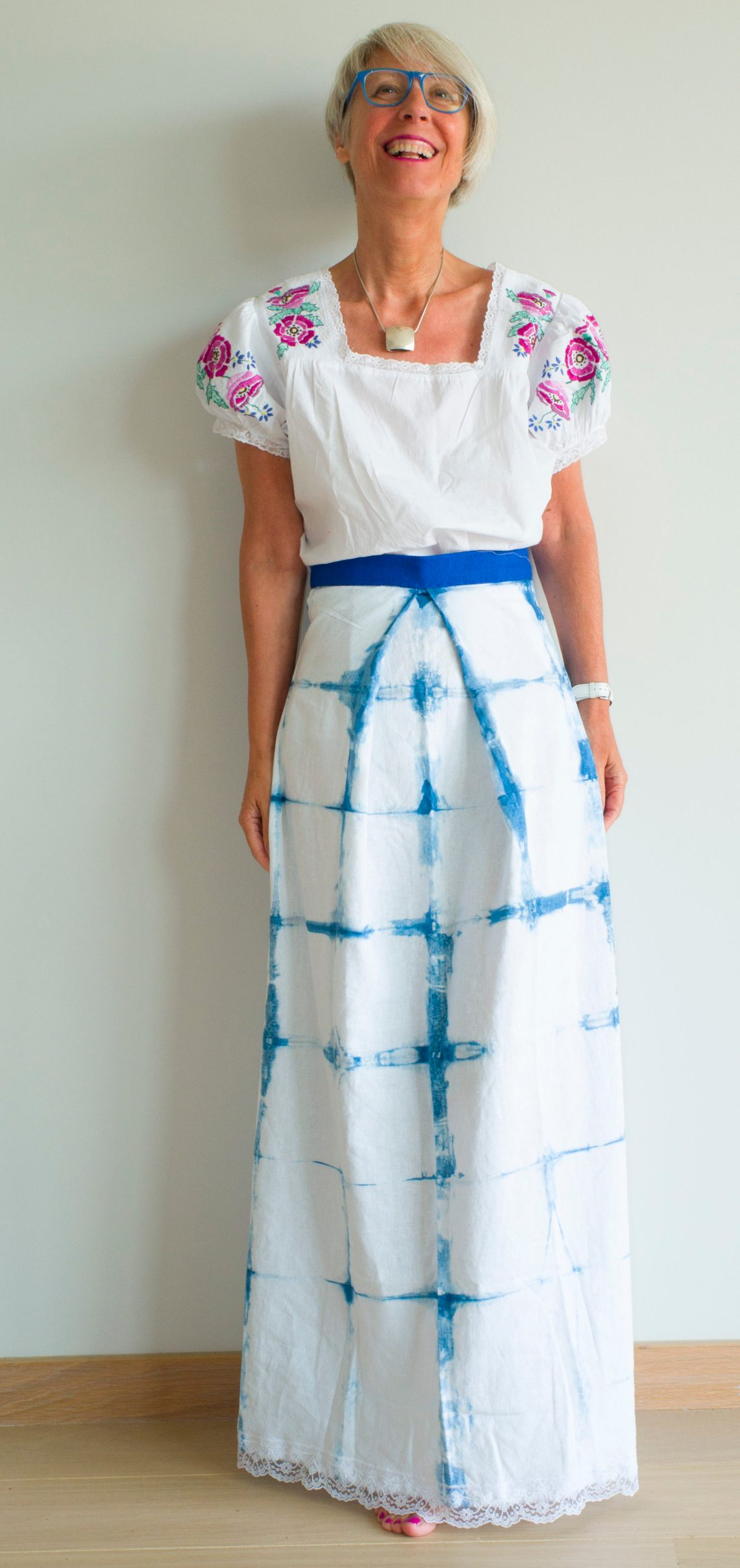 Indigo dyed skirt and vintage emboidered blouse