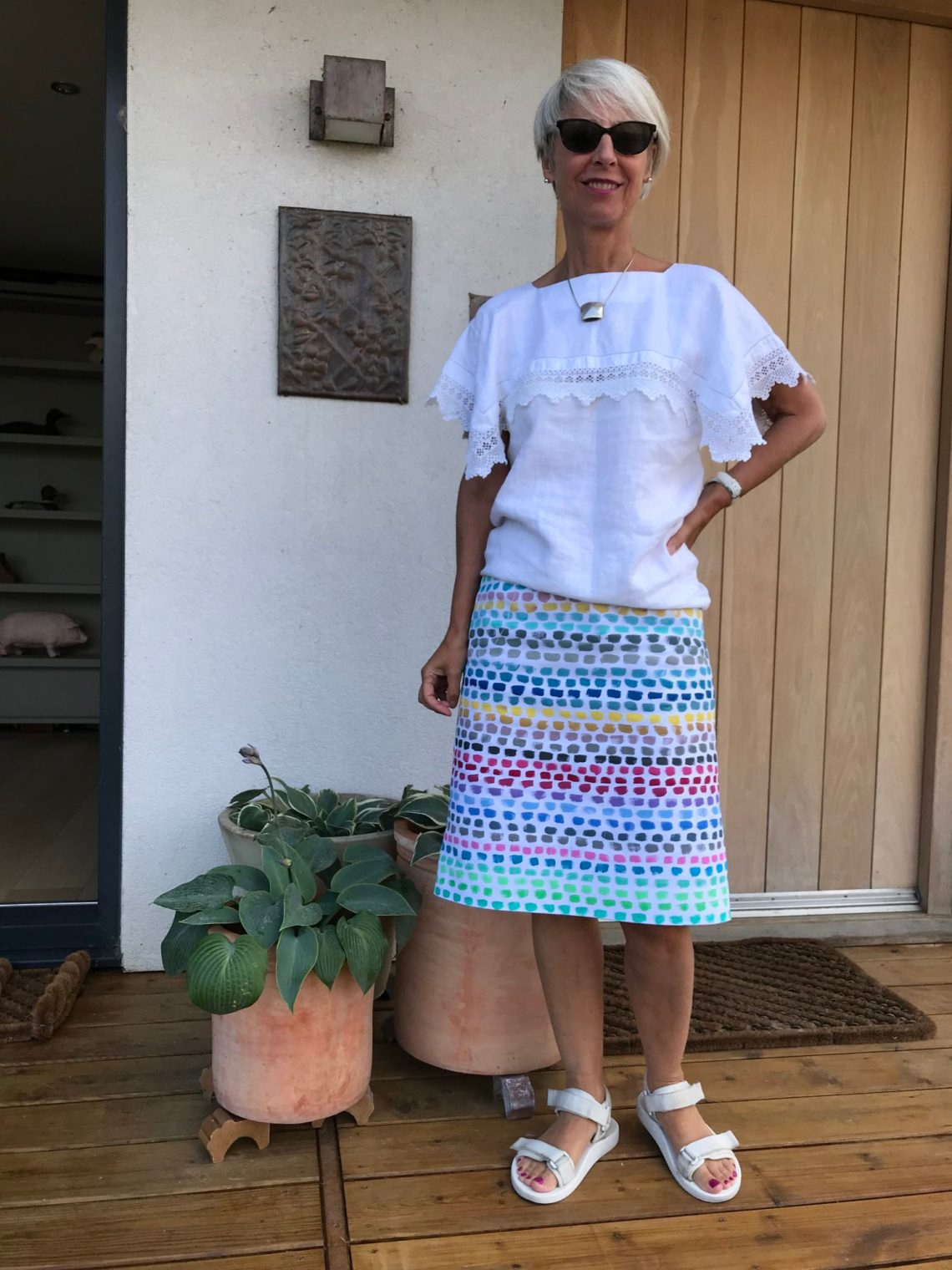 Lace blouse and hand painted skirt