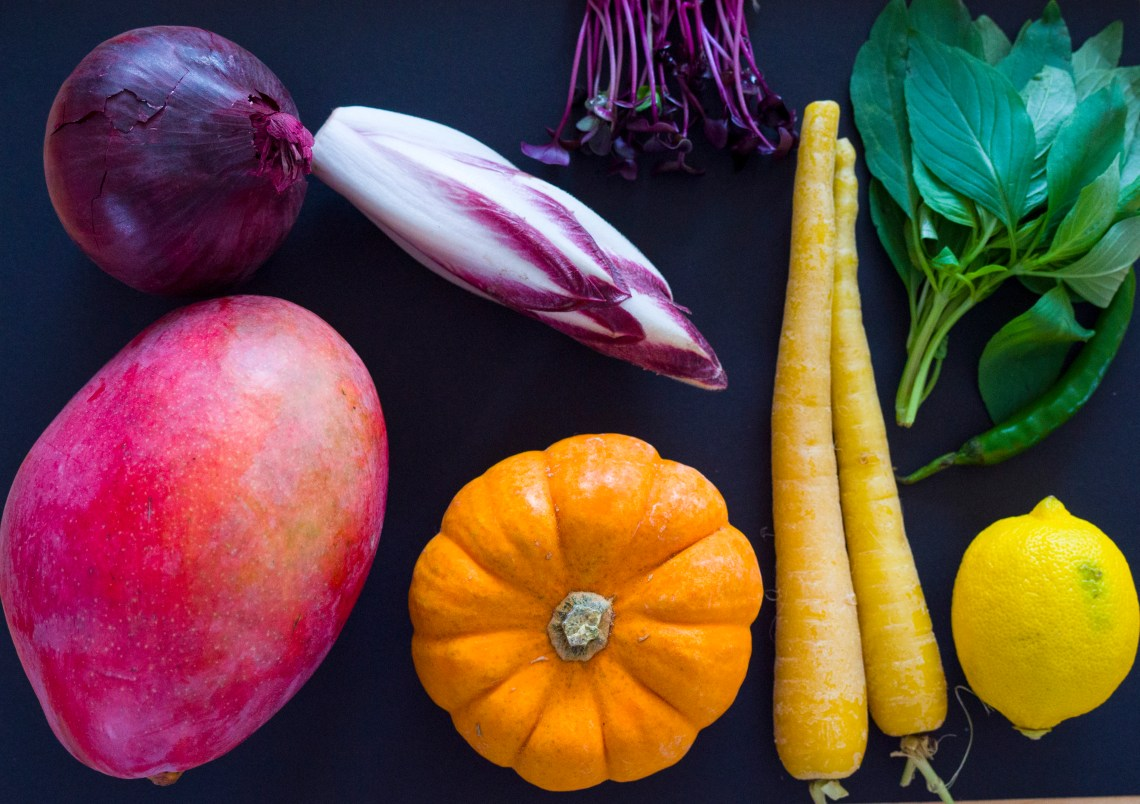 Still life with colourful vegetables