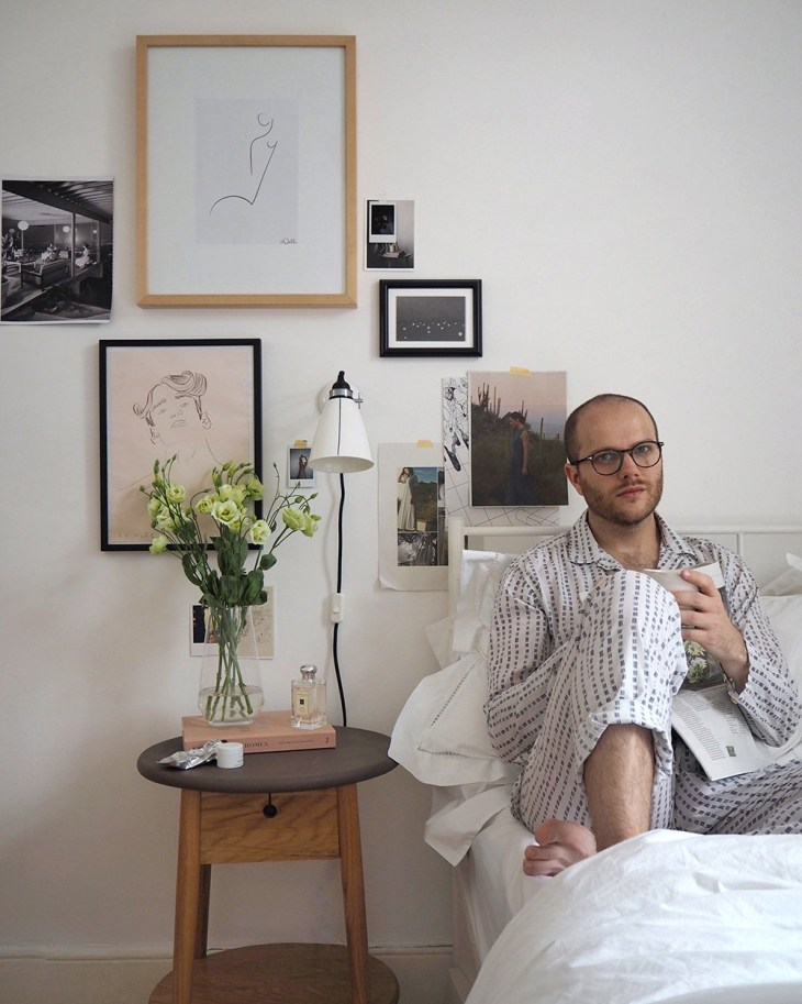 Portrait of Dan Hull, Newcastle lifestyle blogger, sat in bed