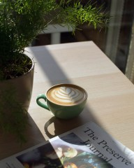 Coffee on sunny table at WYLDE coffee shop in the Wirral