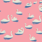 Heather Ross Swan Lake print in Dark Rose - Spoonflower