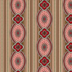 Bally Hall Fabric - Half Yard - Crimson Rose Pink Red Medallion Stripe Striped Print Di Ford Reproduction Quilt Fabric Andover A-8523-E