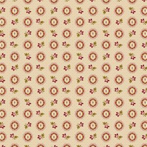 Bally Hall Fabric - Half Yard -  Pink Red Small Oval Medallion & Flowers Cream Shirting Print Di Ford Reproduction Fabric Andover A-8528-E
