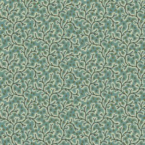 Bally Hall Fabric - Half Yard - Teal Blue Green Vines Coral Design Small Scale Print Di Ford Reproduction Quilt Fabric Andover A-8527-GT