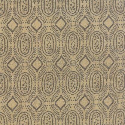 Black Tie Affair - Half Yard - Moda Fabric Floral Woven Vine Black on Tan Designer Quilting Fabric by Basic Grey 30426 14