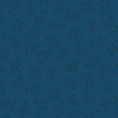 Blue Sky Fabric - Andover Fabric - Half Yard - Black Floral Clusters on Dark Blue Fabric Edyta Sitar Laundry Basket Quilts Fabric A-8511-B