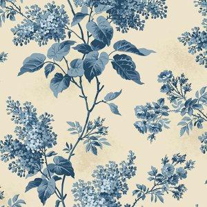 Blue Sky Fabric - Andover Fabric - Half Yard - Dark Blue Large Scale Floral  Cream Fabric Edyta Sitar Laundry Basket Quilts Fabric A-8505-L