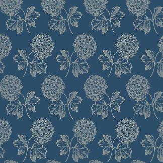 Blue Sky Fabric - Andover Fabric - Half Yard - Hydrangea Clusters on Dark Blue Fabric Edyta Sitar Laundry Basket Quilts Fabric A-8506-B