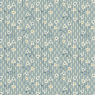Blue Sky Fabric - Andover Fabric - Half Yard - Reproduction Small Blue Heart Vines on Cream Edyta Sitar Laundry Basket Quilts A-8507-W