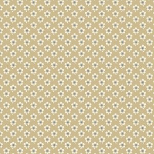 Blue Sky Fabric - Andover Fabric - Half Yard - Reproduction Small Cream Daisy Flowers on Tan Edyta Sitar Laundry Basket Quilts A-8510-N