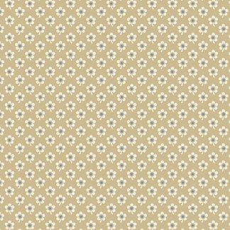 Blue Sky Fabric - Andover Fabric - Half Yard - Reproduction Small Cream Daisy Flowers on Tan Edyta Sitar Laundry Basket Quilts A-8510-N