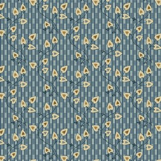 Blue Sky Fabric - Andover Fabric - Half Yard - Reproduction Small Cream White Heart Vines on Blue Edyta Sitar Laundry Basket Quilts A-8507-B