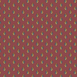 Caswell County - Half Yard - Burgundy with Blue and Gold Small Print Jo Morton Reproduction Quilting Fabric by Andover A-7680-RN