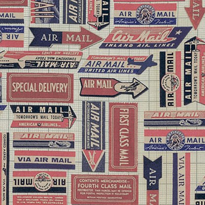 Correspondence - Red Air Mail Labels - Tim Holtz Fabric - Half Yard - Red and Blue on off White Cotton Quilt Fabric Patriotic PWTH0418REDX