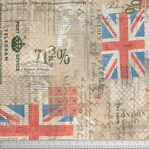 Correspondence - Royal Mail - Tim Holtz Fabric - Half Yard - Red White and Blue Flags Ledger Cotton Quilt Fabric Patriotic PWTH0548NEUT