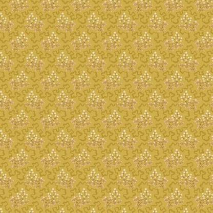 Crystal Farm Fabric - Andover Fabric - Half Yard - Edyta Sitar Laundry Basket Quilts Elderberry Floral Pink White on Gold Yellow A-8619-Y