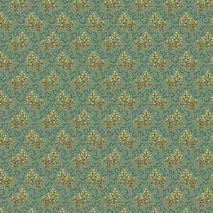 Crystal Farm Fabric - Andover Fabric - Half Yard - Edyta Sitar Laundry Basket Quilts Elderberry Floral Tan Gold on Teal Blue A-8619-T