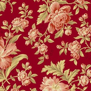Crystal Farm Fabric - Andover Fabric - Half Yard - Edyta Sitar Laundry Basket Quilts Floral Pink Large Scale Roses Rich Deep Red A-8614-R