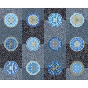 Desert Moons - Andover Fabric - 1 Yard - Blue, Gray, and Black Medallions Mandala Designer Quilting Sewing Fabric by Andover - A-7722-MB