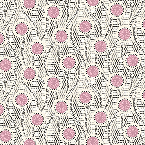 Downton Abbey Fabric Shirtings - Half Yard - Off White With Purple Dots and Black Swirls Design Reproduction Fabric Andover - A 7326 E