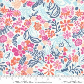 Early Bird Fabric - Half Yard - Moda Fabric - White & Pink Orange and Blue Flowers Floral Splendor Kate Spain Quilting Fabric Moda 27264 22