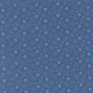 Grand Traverse Bay - Half Yard - Moda Fabric Floral Reproduction Medium Blue Swirls Design Quilt Fabric Minick & Simpson 14825 15
