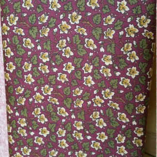 Hollyhocks - Burgundy Red with Tan and Gold Flowers Floral Print Jo Morton Quilting Sewing Fabric by Andover - A-7746-KR - Half Yard
