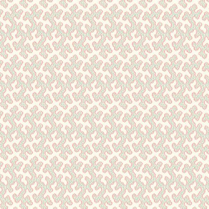 Key West Fabric - Half Yard - Cream with Teal and Red Coral Design Small Scale Print Di Ford Reproduction Quilt Fabric Andover A-7971-T