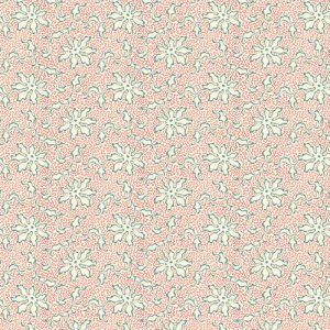 Key West Fabric - Half Yard - Cream with Teal and Red Flower Design Di Ford Reproduction Quilt Fabric Andover A-8311-R