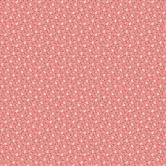 Key West Fabric - Half Yard - Red with Cream Small Leaf Design Di Ford Reproduction Quilt Fabric Andover A-8315-R