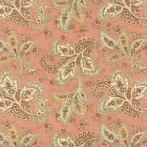 Larkspur - Moda Fabric - Half Yard - Large Floral Paisley Blossom Pink Large Scale Designer Cotton Quilt Fabric 3 Sisters 44101 15