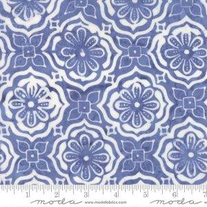 Latitude Batik Fabric - Moda Fabric - Half Yard - Kate Spain Sky Light Blue Treasure Medallions Hand Dyed Fabric Quilt Fabric 27250 282