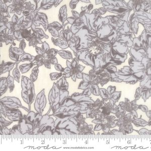 Maven Fabric - Half Yard - Moda Fabric Stone Gray Floral Flowers on Cream White Cotton Quilt Fabric Basicgrey Basic Grey Gray 30461 19