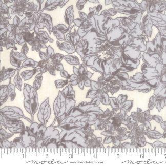 Maven Fabric - Half Yard - Moda Fabric Stone Gray Floral Flowers on Cream White Cotton Quilt Fabric Basicgrey Basic Grey Gray 30461 19