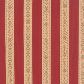 Mille Couleurs Floral Band de Fleurs Stripe Rouge Red with Flowers Roses and Birds Designer Quilting 3 Sisters Moda - 1/2 Yard 44088 13