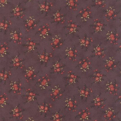 Mille Couleurs Petite Floral Fleurs Mulberry Purple with Flowers Roses Designer Quilting Sewing Fabric 3 Sisters Moda - 1/2 Yard 44086 15