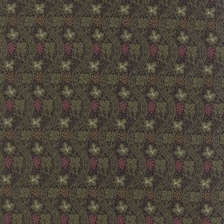 Morris Earthly Paradise - Half Yard- Moda Fabric Floral Vine 1910 Black with Green Reproduction Fabric William Morris Fabric 8335 17