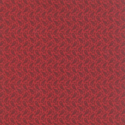 Petite Prints Deux Fabric - Moda Fabric - Half Yard - Floral Paulette Red with Feathers Small Scale Print Primitive Gatherings 13752 11