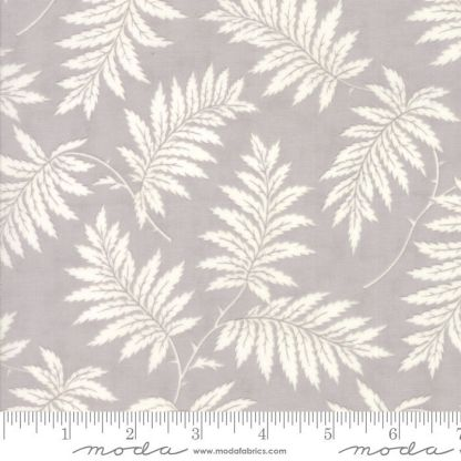 Poetry Fabric - Moda Fabric - Half Yard - Ferns Leaves Gray Grey with White Leaves Medium Scale Print 3 Sisters Quilt Fabric 44135 17